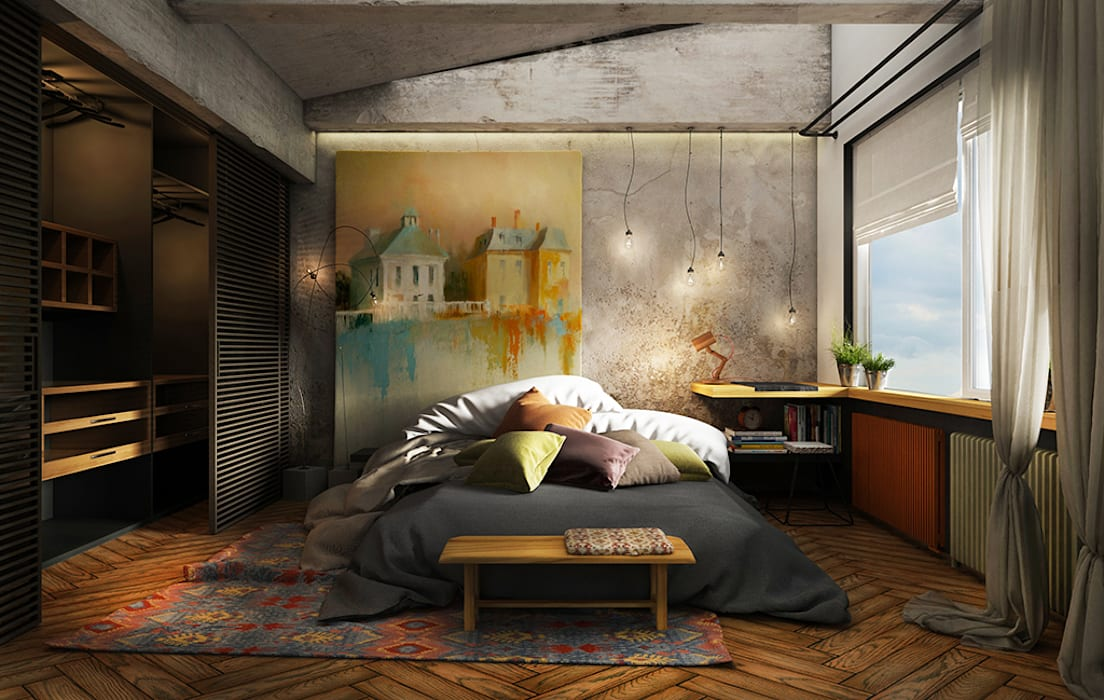 Industrial style bedroom by he.d group Industrial Wood Wood effect