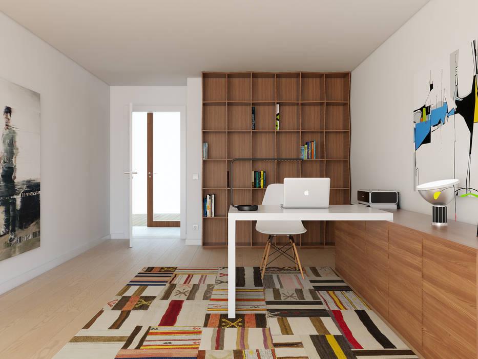 Oficinas y bibliotecas de estilo moderno de José Tiago Rosa Moderno