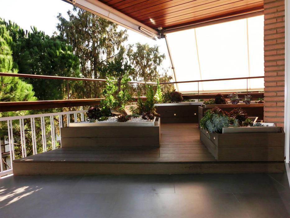 Terraza reformada con tarima y macetas de lamas sintéticas. Balcones y terrazas asiáticos de Daifuku Designs Asiático