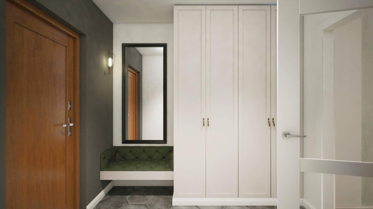Dom z niebieską kuchnią Eklektyczny korytarz, przedpokój i schody od Finchstudio Eklektyczny