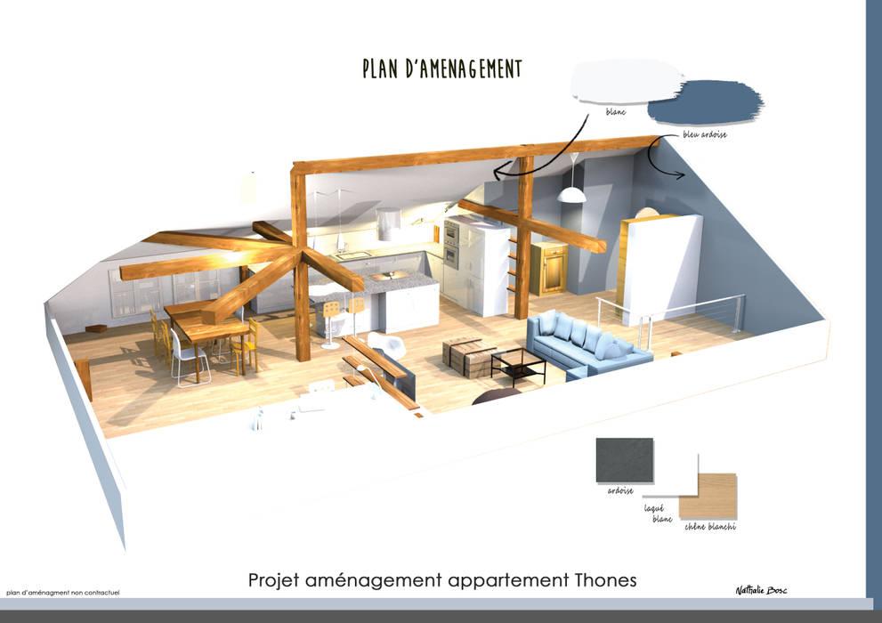 Projet 3D d'aménagement du loft: Salon de style  par Résolument Déco