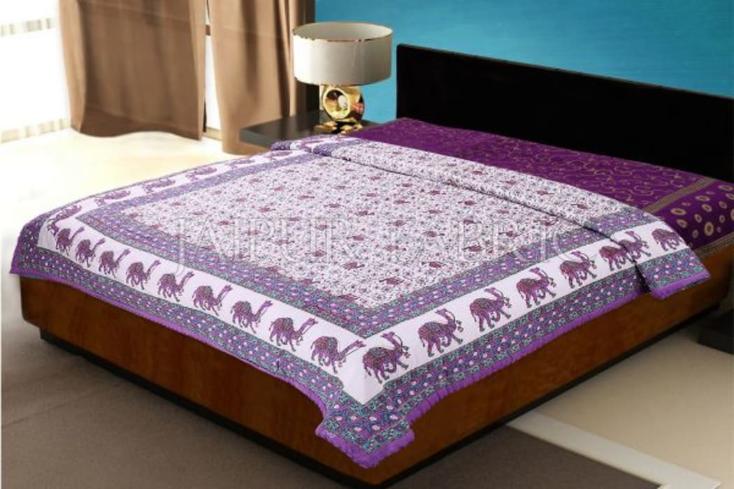 Purple Rajasthani Camel Border Flower Print Cotton AC Double Bed Quilt Jaipur Fabric BedroomBeds & headboards
