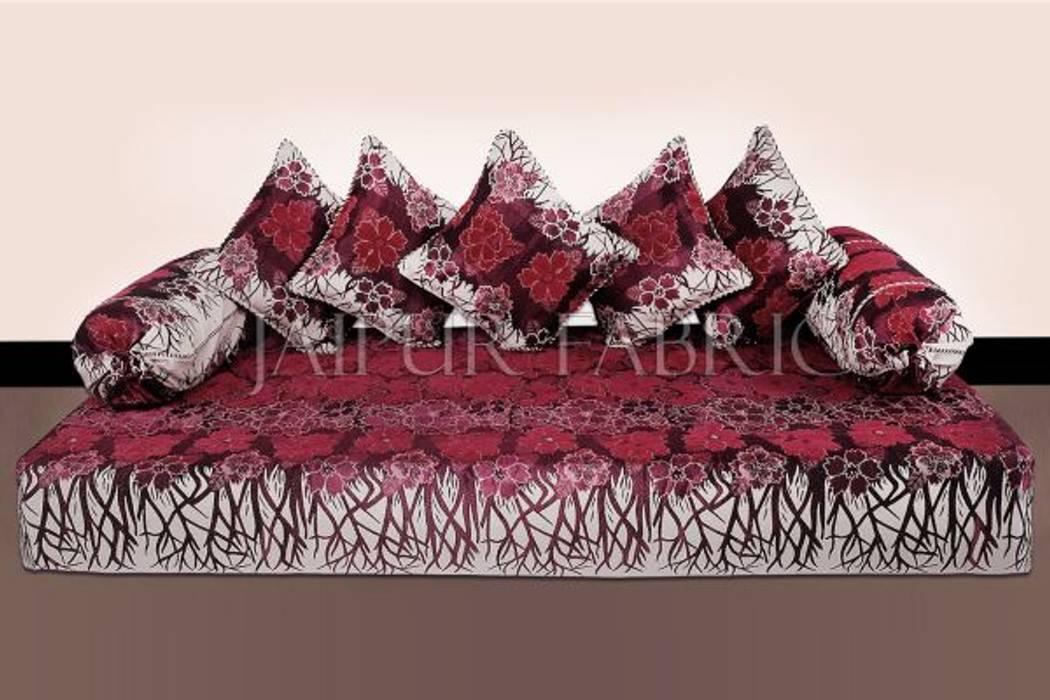 Magenta Color Velvet Floral Design Diwan Set Jaipur Fabric Living roomAccessories & decoration Cotton Red