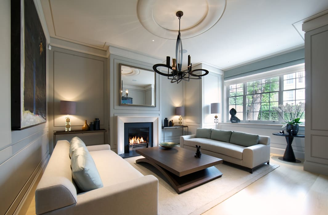 Sitting room Bedford Gardens house. Nash Baker Architects Ltd Salon moderne Gris
