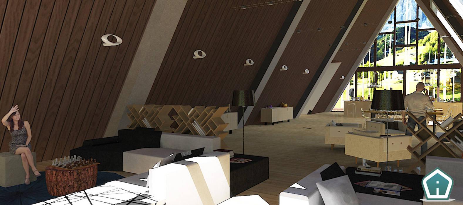 Chalet - guest house: Soggiorno in stile in stile Moderno di 3d Casa Design