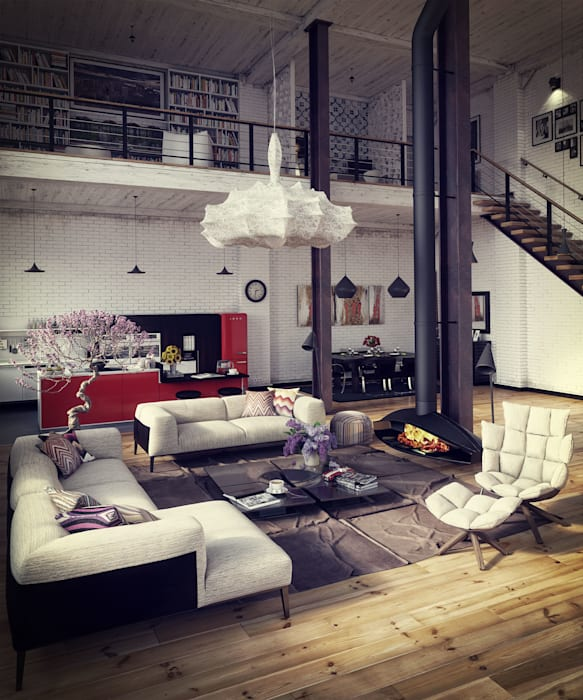 RIP3D ARCHVIZ Ruang Keluarga Gaya Industrial