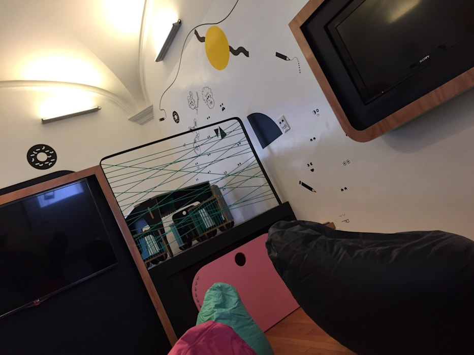 Mueble de TV para Xbox ONE Espacios comerciales de estilo minimalista de AMÉTRICO ESTUDIO Minimalista