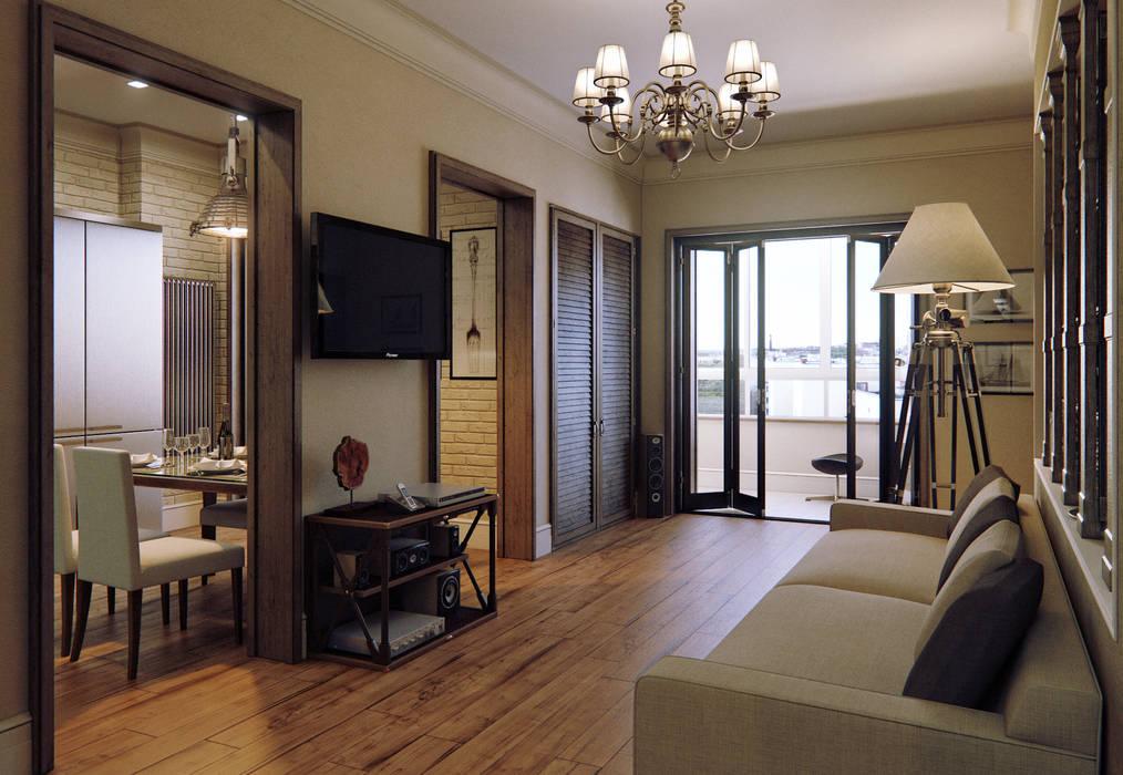 Квартира в ЖК на улице Дружбы Гостиные в эклектичном стиле от MARION STUDIO Эклектичный