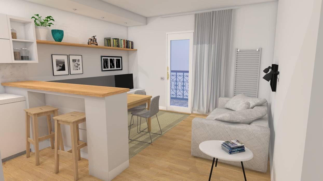 Soggiorno di stile con cucina a vista per un piccolo for Arredare soggiorno moderno piccolo