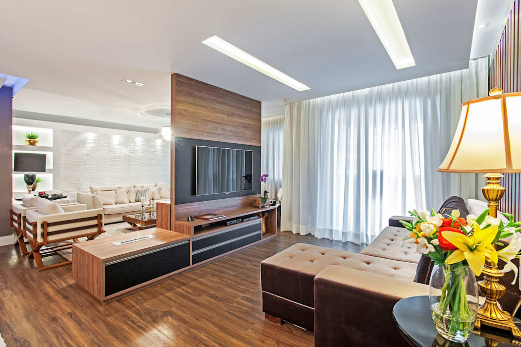 Apartamento 601 Salas multimídia modernas por Patrícia Azoni Arquitetura + Arte & Design Moderno