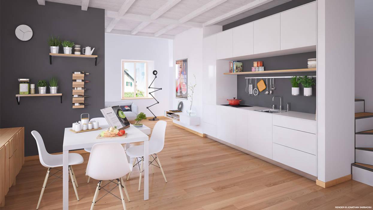 Ristrutturazione di un vecchio mulino a Jussy - zona pranzo e soggiorno Jonathan Sabbadini Cucina in stile scandinavo Legno Bianco