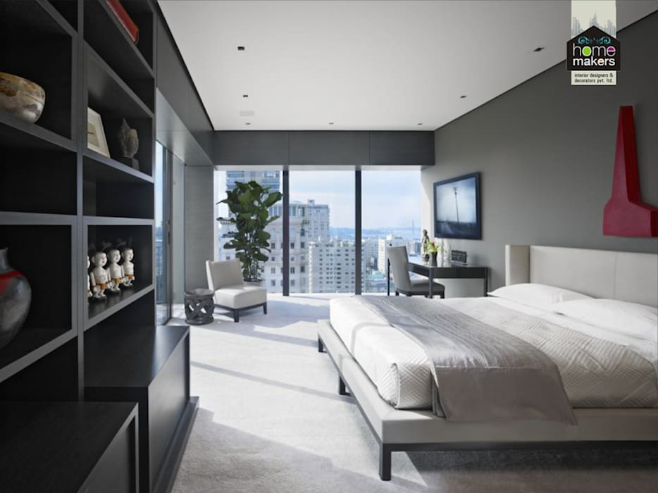 White Bedroom: modern Bedroom by home makers interior designers & decorators pvt. ltd.