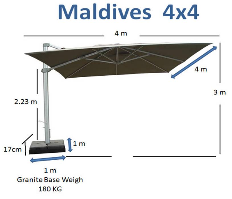 SOMBRILLA MALDIVEZ Espacios comerciales de estilo moderno de SINDO OUTDOOR Moderno Aluminio/Cinc