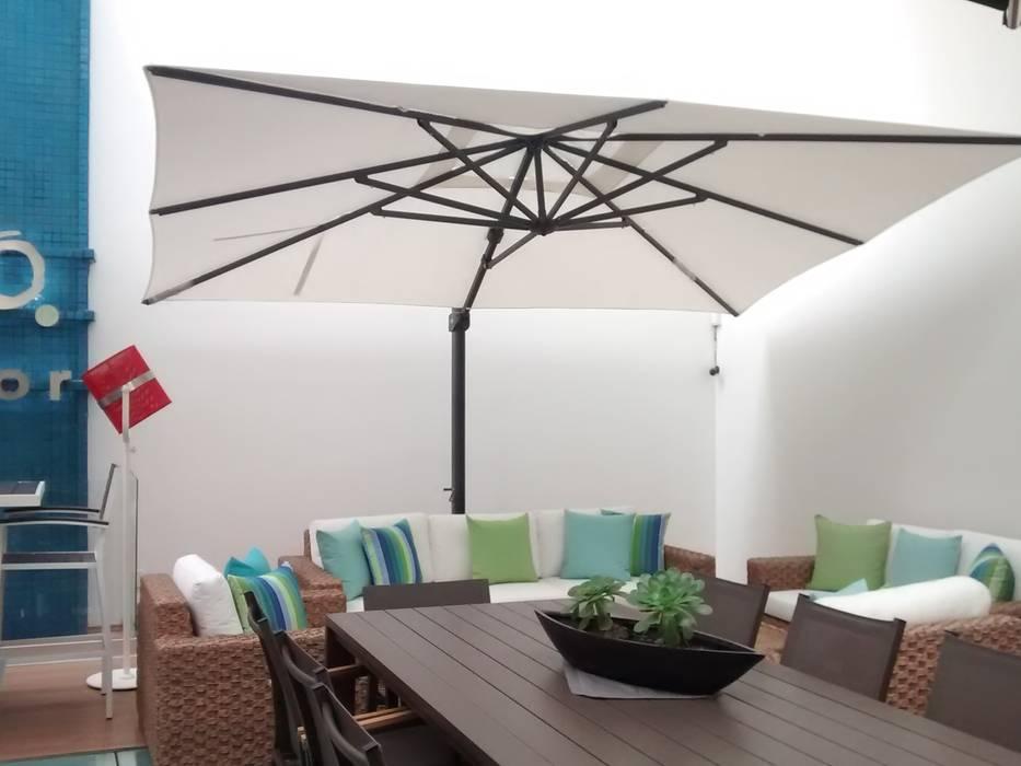 SOMBRILLA BALI EGGSHELL: Espacios comerciales de estilo  por SINDO OUTDOOR
