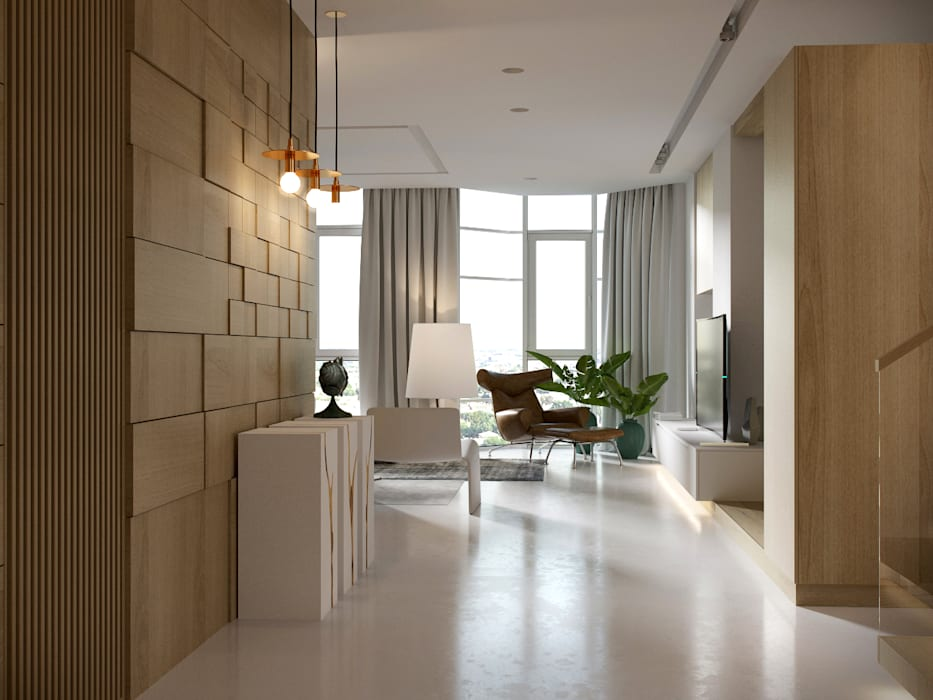 AShel Salon minimaliste Bois Orange