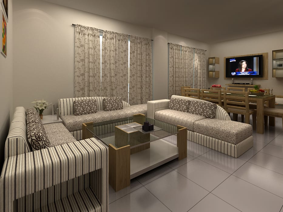 Interiors:  Living room by S.R. Buildtech – The Gharexperts