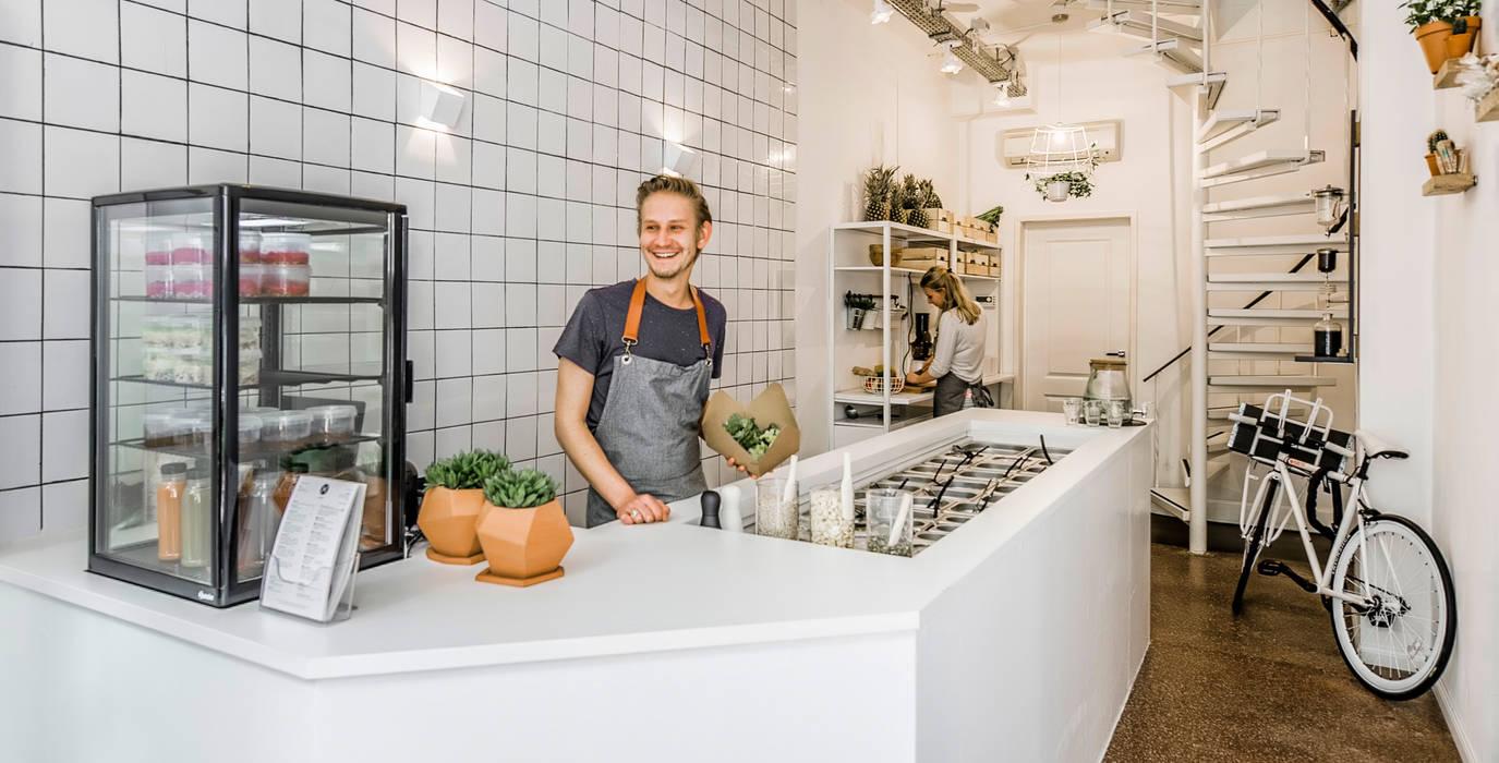 Hake Pure Salad Bar :  Gastronomie door Design Studio Nu, Industrieel