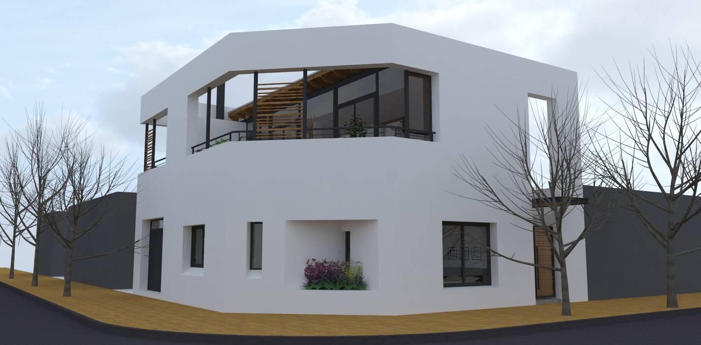 Fachada desde a esquina Casas modernas: Ideas, imágenes y decoración de UFV 72 Arquitectura Integral Moderno