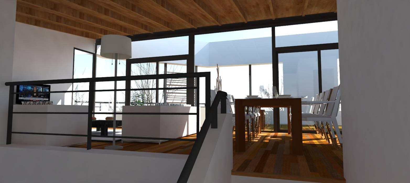 Llegada a la sala de estar desde el hall de acceso Livings modernos: Ideas, imágenes y decoración de UFV 72 Arquitectura Integral Moderno