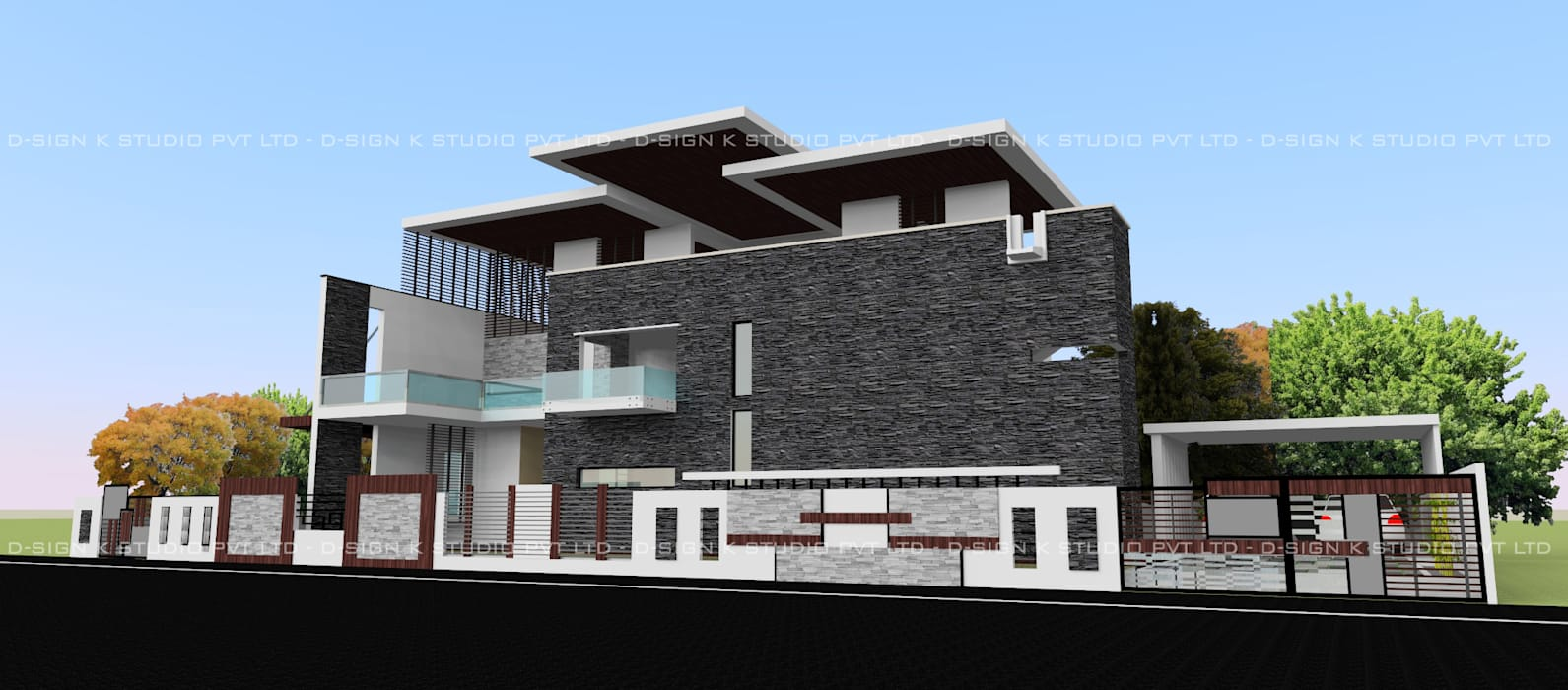 Hill View Residential bungalow for Mr.Anandha Krishnan Modern houses by D-SiGN KSTUDIO™ PVT LTD ARCHITECTS + INTERIORS + LANDSCAPING Modern Stone