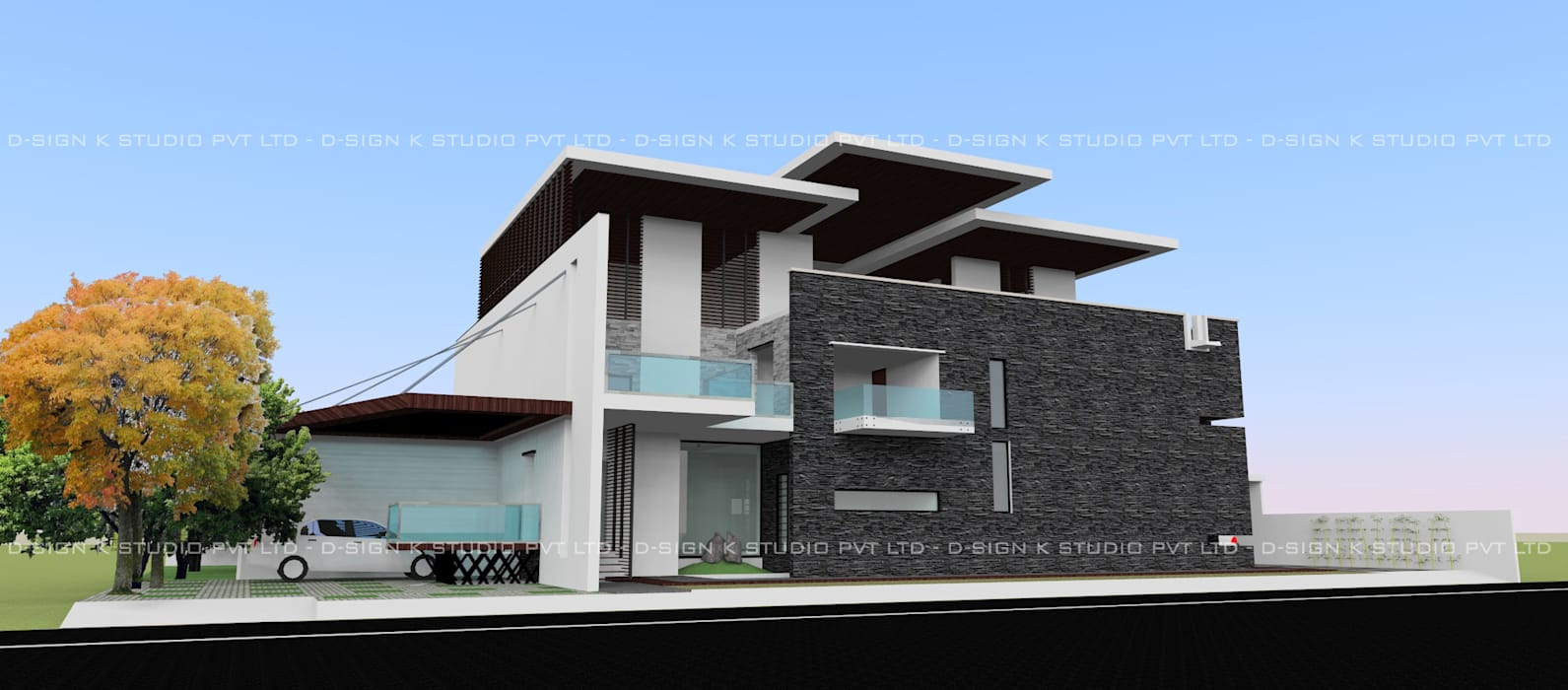 Hill View Residential bungalow for Mr.Anandha Krishnan: modern Houses by D-SiGN KSTUDIO™ PVT LTD ARCHITECTS + INTERIORS + LANDSCAPING