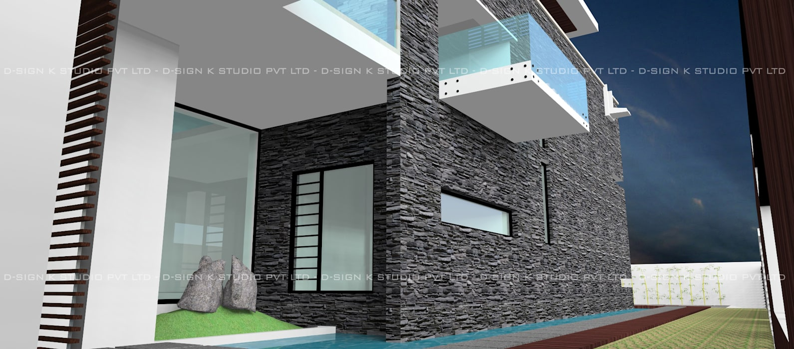 Hill View Residential bungalow for Mr.Anandha Krishnan Modern houses by D-SiGN KSTUDIO™ PVT LTD ARCHITECTS + INTERIORS + LANDSCAPING Modern