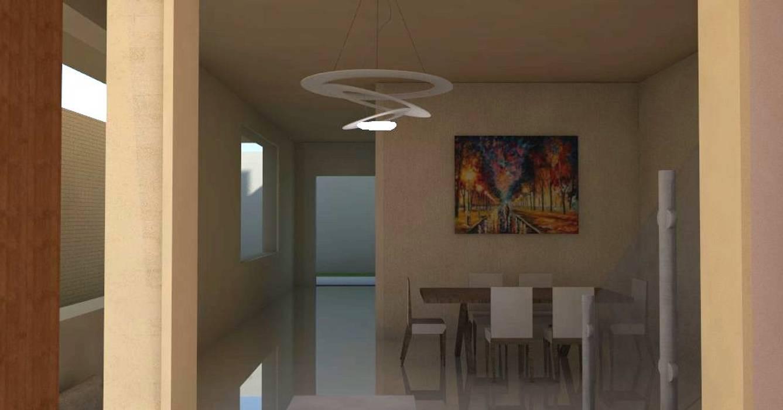 Sala comedor de vivienda unifamiliar FAMILIA SANABRIA: Salas / recibidores de estilo  por 3R. ARQUITECTURA