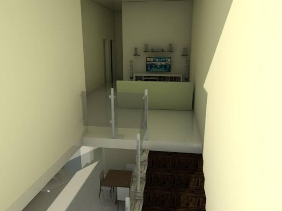 escalera de vivienda unifamiliar FAMILIA SANABRIA (Planta alta): Salas de entretenimiento de estilo  por 3R. ARQUITECTURA