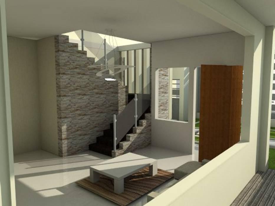 escalera de vivienda unifamiliar FAMILIA SANABRIA (Planta alta) Paredes y pisos de estilo ecléctico de 3R. ARQUITECTURA Ecléctico