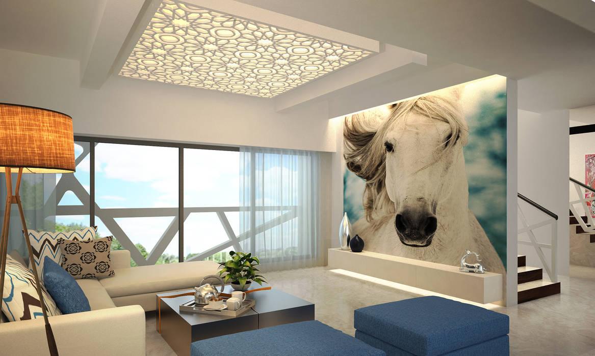 MODERN GREEK THEMED BUNGALOW SCHEME,KHANDALA Mediterranean style living room by AIS Designs Mediterranean