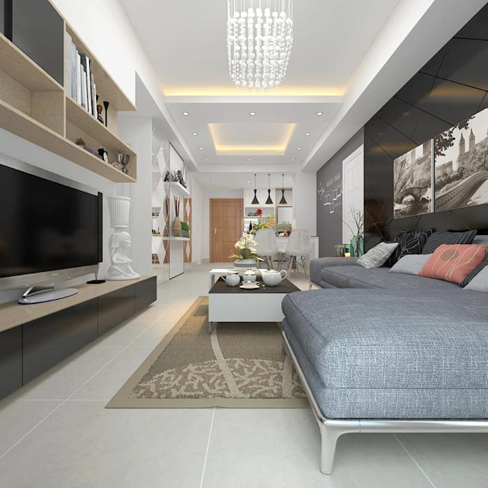 Sofa & TV View:  Living room by Creazione Interiors