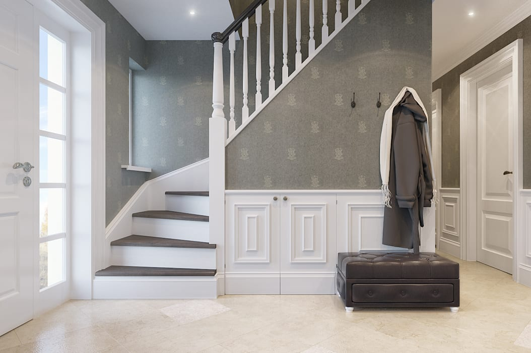 House on St.George Hill Classic corridor, hallway & stairs by EVGENY BELYAEV DESIGN Classic