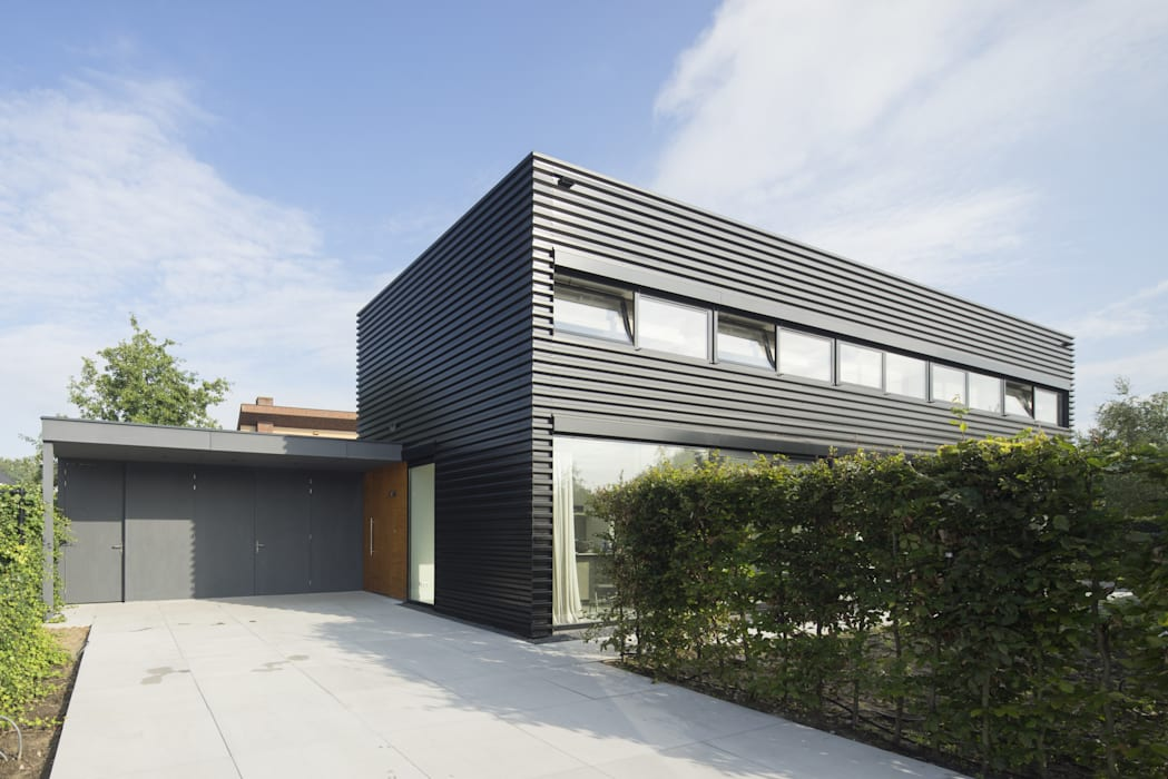 Ontwerp vrijstaand woonhuis Goirle JMW architecten Industriële huizen IJzer / Staal Zwart