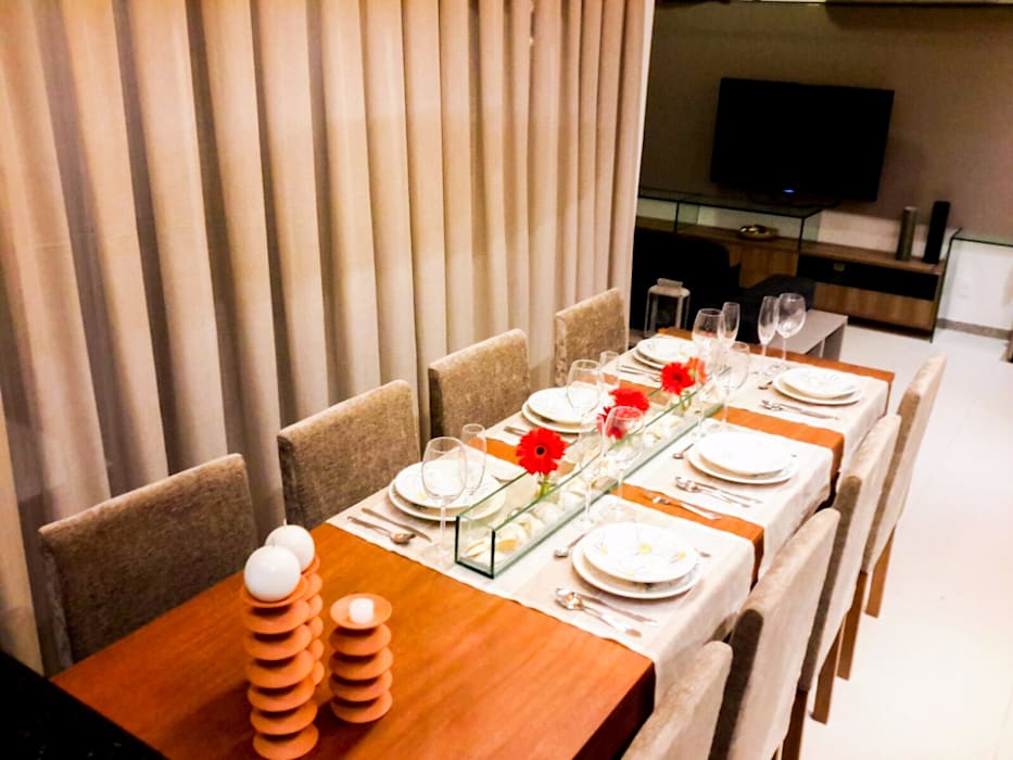 mesa Salas de jantar rústicas por Deise leal interiores Rústico