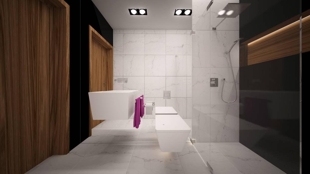 Łazienka Minimalistyczna łazienka od WIZZARIUM Minimalistyczny Ceramika