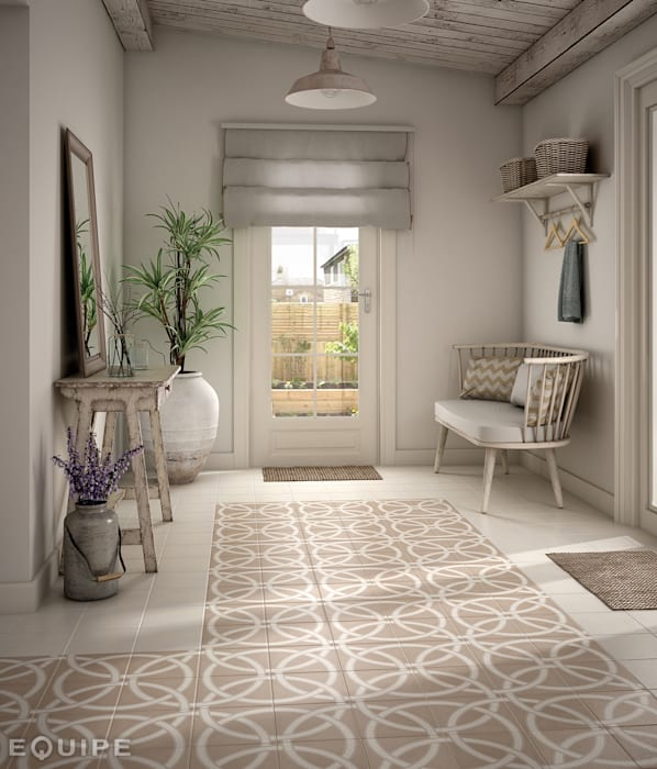 Country style corridor, hallway & stairs by Equipe Ceramicas Country