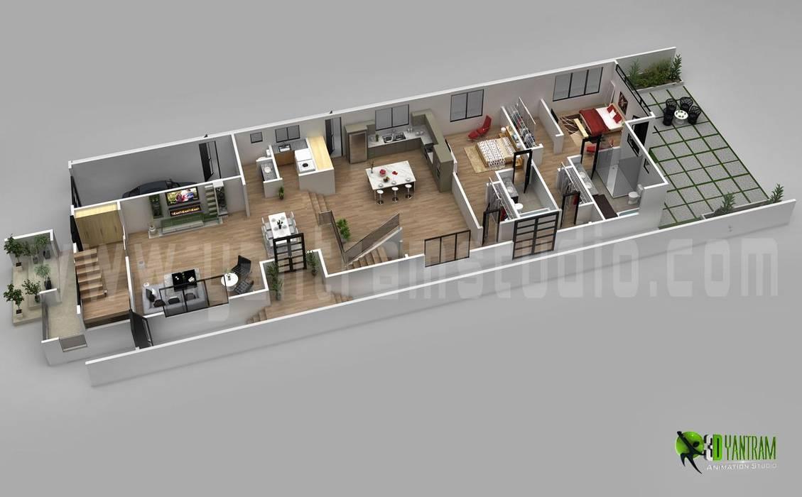 3D Floor Plan Design For Modern Home by Yantram Architectural Design Studio