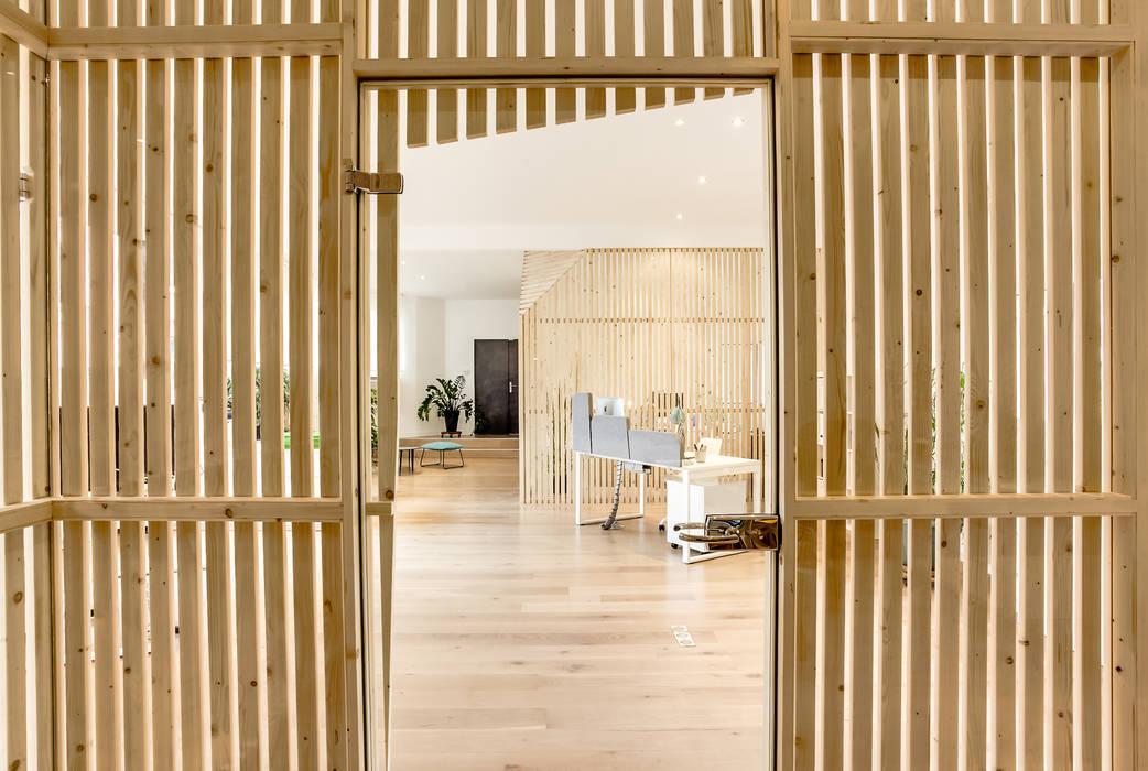 Edificios de oficinas de estilo moderno de Transition Interior Design Moderno Madera Acabado en madera