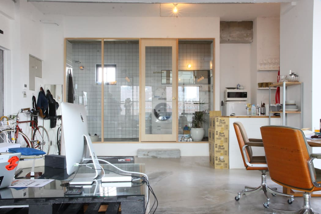 90平米のワンルーム インダストリアルスタイルの お風呂 の HOUSETRAD CO.,LTD インダストリアル