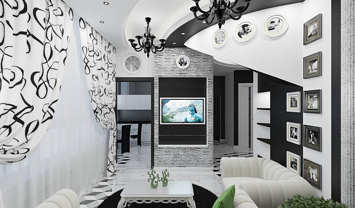 Eclectic interior in a row house: Гостиная в . Автор – Alena Gorskaya Design Studio, Эклектичный