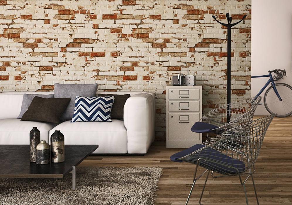Azulejos para fachadas o paredes de estilo piedra: Paredes de estilo  de INTERAZULEJO, Rústico