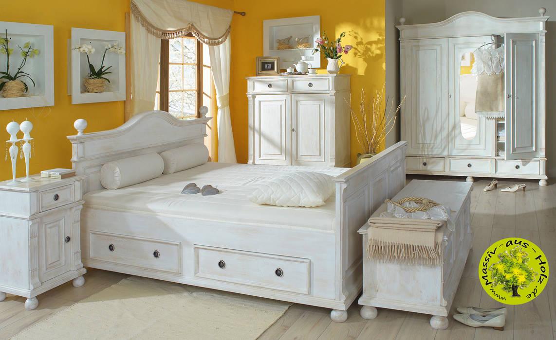 Landhausbett in antik weiß inkl. 4x schubladen: schlafzimmer ...