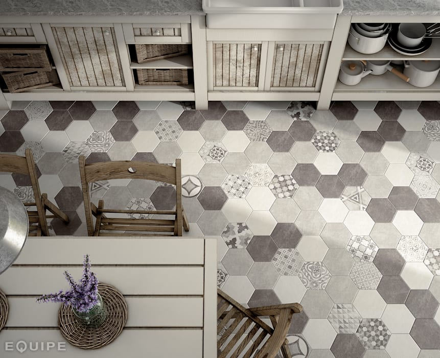 Hexatile Cement White, Grey, Black, Decor Garden Grey 17,5x20 Comedores de estilo rústico de Equipe Ceramicas Rústico