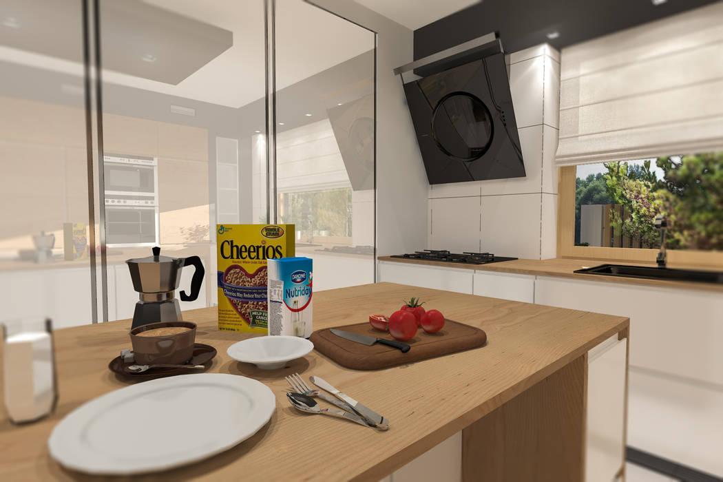 Przebudowa domu w Rybniku Nowoczesna kuchnia od ABC Pracownia Projektowa Bożena Nosiła Nowoczesny