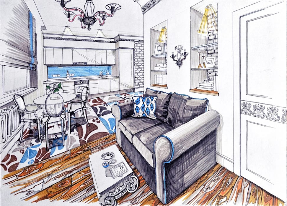 Loft in the elks' island Столовая комната в стиле модерн от Alena Gorskaya Design Studio Модерн