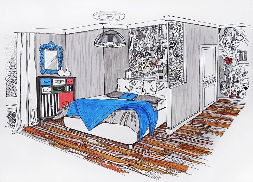 Loft in the elks' island Спальня в стиле модерн от Alena Gorskaya Design Studio Модерн