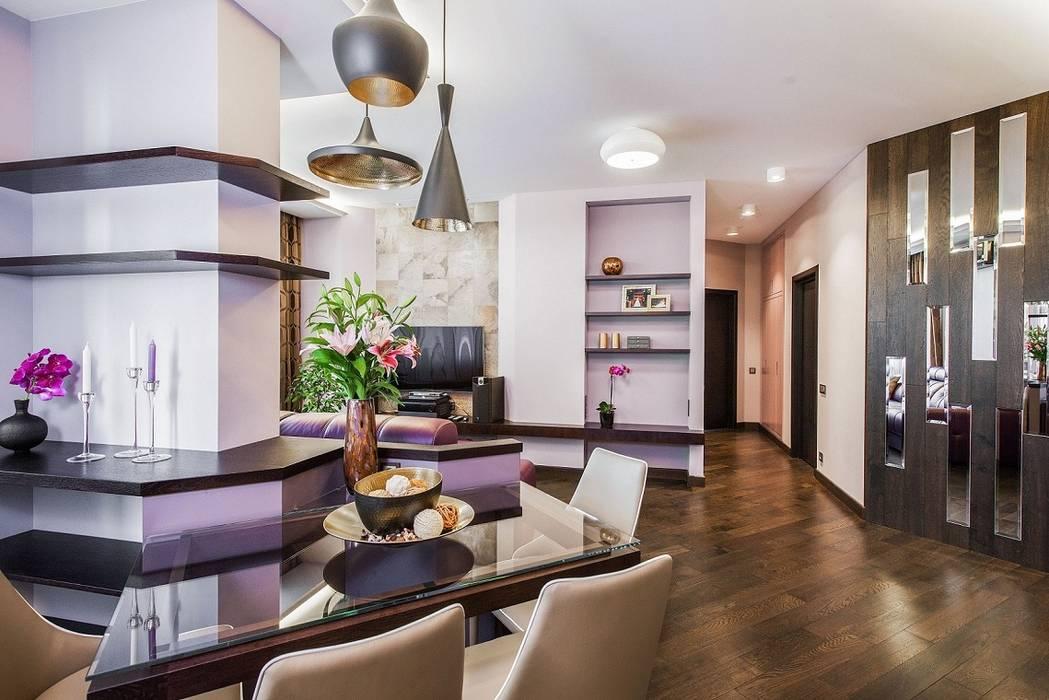Сompound interior Alena Gorskaya Design Studio Столовая комната в стиле минимализм Фиолетовый / Лиловый