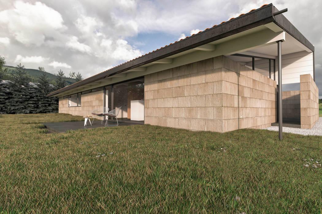 Casa Patio - Ourense - Galicia Casas de estilo moderno de infografia 3D - arquitectura interior Moderno Granito