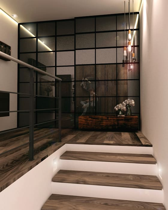 Pang-industriya na corridors estilo, Pasilyo & Hagdan by Taller 03 Industrial Wood Wood effect