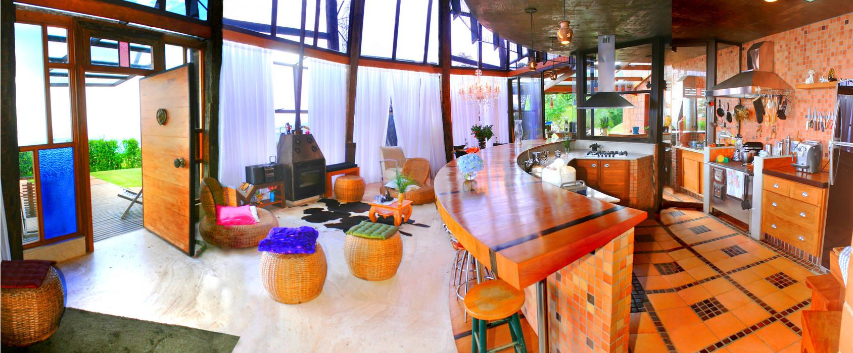 Salon rustique par Hérmanes Abreu Arquitetura Ltda Rustique